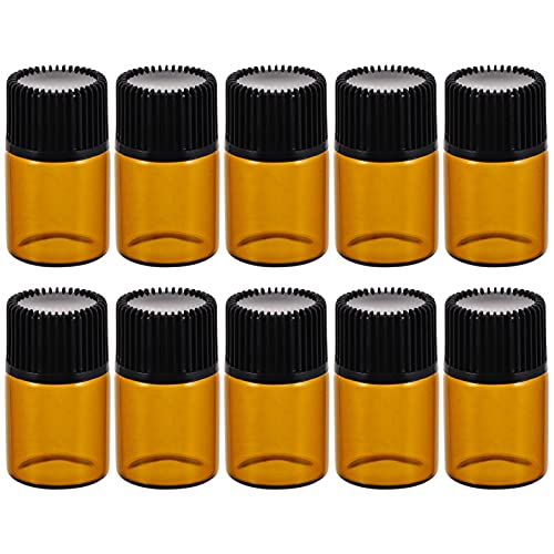 Scicalife Frasco de Perfume Recargable de 2Ml de 50 Unidades Frasco Marrón con Orificio Y Tapa Aceite Esencial de Vidrio Vacío Tubo de Cobalto Dispensador de Líquidos para Aromaterapia