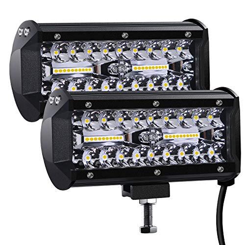 Faro da Lavoro Led, 7'' Cree Barra LED Fuoristrada Fari Led 300W 27,000lm Fari di Profondità Impermeabile IP67 Luci di Lavoro Fuoristrada per Moto Auto ATV SUV Trattore, 6500K, (2 PCS)…