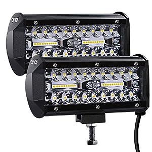 Kraumi Faro Trabajo LED Focos de Coche 12V 7'' 300W Faros Led Tractor 27,000LM 6000K IP67 Impermeable Off-road Foco de Trabajo LED para Moto ATV SUV Tractor Camión Barco