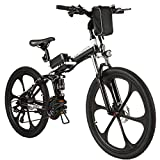 "ANCHEER Electric Bike Folding Electric Mountain Bike with 26"" Magnesium Alloy 6 Spokes Integrated Wheel, Premium Full Suspension and 21 Speed Gears"