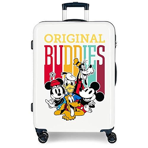 Disney Mickey Original Buddies Maleta Mediana Azul 48x68x26 cms Rígida ABS Cierre combinación 70L 3,7Kgs 4 Ruedas Dobles