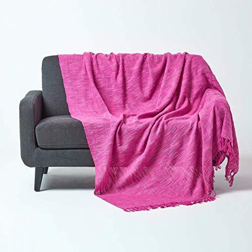 Homescapes sprei/bankovertrek/deken/plaid Nirvana in roze - 225 x 255 cm - handgeweven van 100% puur katoen, knooplook met franjes