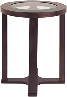 Signature Design by Ashley - Marion Round Chairside End Table, Dark Brown with Glass Top