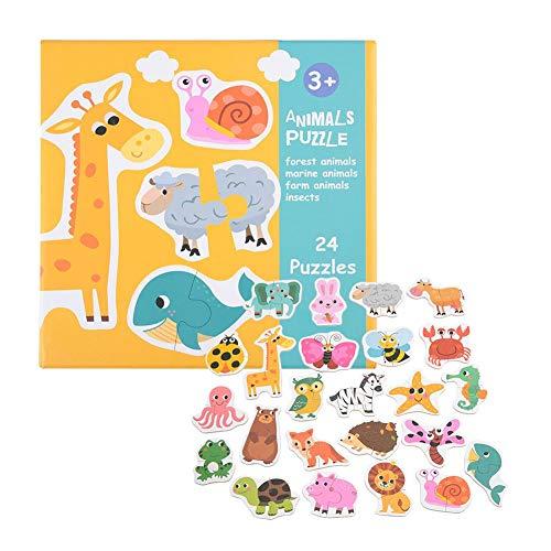 Juguete de rompecabezas de correspondencia del niño, gran juego educativo potencial de aprendizaje temprano de madera para niños en edad preescolar cumpleaños Navidad regalo (Animal)