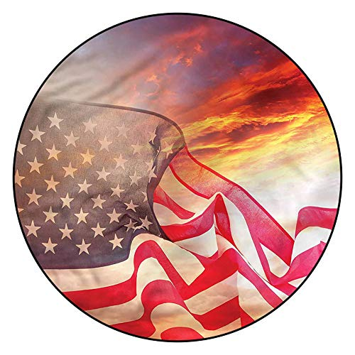 3D American Flag Pattern Area Rugs Carpets,6' Round,Flag with Stars Sky Floor Carpet with Non Slip Backing for Bedroom Livingroom Dorm Kids Room Indoor Home Decorative