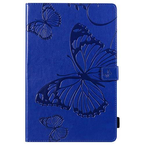 JINXIUCASE Funda de Tableta, Mariposa Flor Patrón Floral PU Funda de Cuero con Soporte para Billetera para Lenovo Tab M10 FHD Plus 10.3 Pulgadas TB-X606F TB-X606X 2020 (Color : Azul)