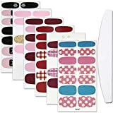 WOKOTO 6 Sheets Cartoon Nail Art Polish Wraps Stickers With 1Pc Nail File Cat Adhesive Manicure Decals Strips Set For Women