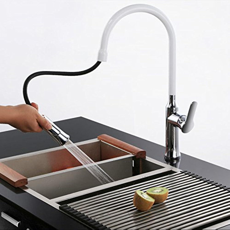 S.TWL.E Küche Küchenarmatur Waschtischarmatur Mischbatterie Spülbecken Armatur Wasserhahn Bad Kupfer Hei und Kalt gezogen, Teleskop Schwenken Spülbecken