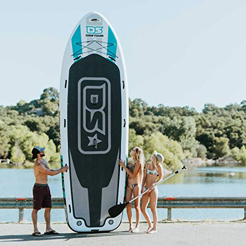 Driftsun Party Barge 15 Foot Inflatable Paddle Board, Large Multi Person Inflatable Stand Up SUP with 2 Dual Action Hand Pumps for Quick Inflation, 15 Feet Long, 4.5 Feet Wide