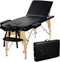 Yaheetech Massage Table Portable Massage Bed Massage Therapy Table Spa Bed 84 Inch Adjustable 3 Fold Salon Bed Face Cradle Bed Black