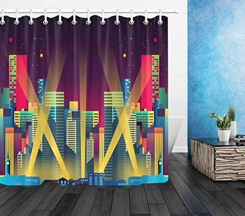 /N City Nigh Neon Light Duschvorhang Liner Badezimmer Polyester Stoff