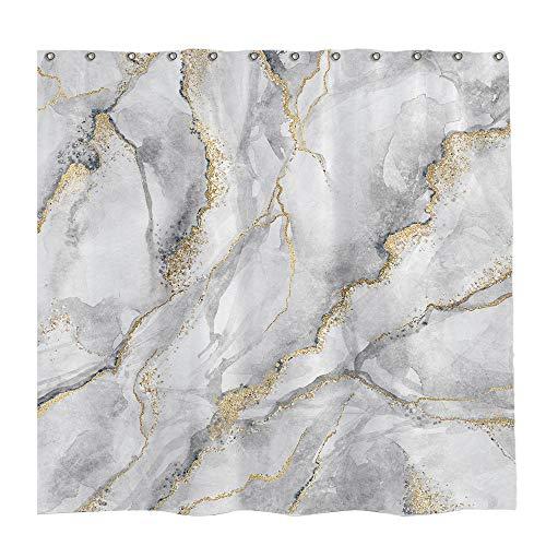 Allenjoy 183 x 182,9 cm Marmor Duschvorhang Weiß Grau Gemischte Goldene Rissige Linien Muster Textur Badezimmer Vorhang Durable Wasserdicht Stoff Badewannen Sets Home Decor mit 12 Haken