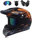 Casco de motocross Downhill Enduro, casco integral, casco para moto off-road, con visera, gafas, máscara, guantes para moto, deportes al aire libre, juego (A,L)