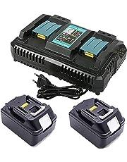 2 stuks 18 V 5,0 Ah BL1850 BL1850B voor Makita 18 gereedschapsaccu met vervanging DC18RD 196933-6 4A dubbele lader/snellader