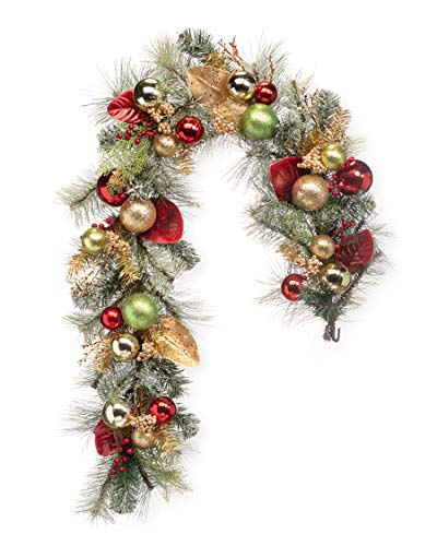 Petals - Holiday Sparkle - Artificial Christmas Garland - Handcrafted Beautiful Silk Flowers