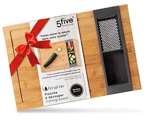 Five Schneide Brett Holz – Bambus Brett groß herausnehmbare Behälter – Bambus Schneidebrett – 40 x 27 x 3,5 Geruchloses Koch Brett Holz