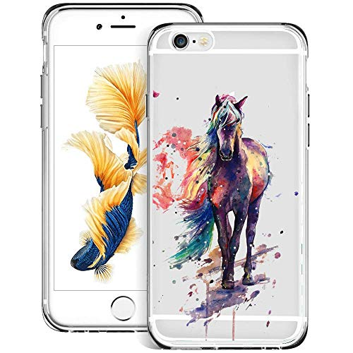 Fashion Anti-Scratch Soft Durable TPU Ultra-Clear Silicone UV Printing Protective Monkey Hanging Pattern Phone Case for iPhone 6s 6 (Watercolor Horse)