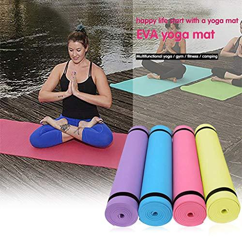 SHSH Yogamatte, Trainingsgeräte-Matte, Laufband-Matte, Fitness-Matte, elliptische Matte, Springseil-Matte, Premium bestickt, extra dick, blau