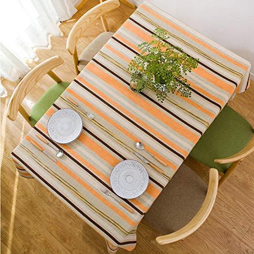 SjyBed Mantel deRayas Nordicas deAlgodon y LinoSimpleMesa de ComedorModernaSala deEstarMesa de Cafe Mantel deHotelMesaRectangularCuadradaFiesta,Naranja,110X170 CM