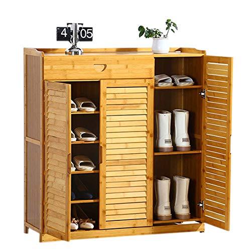 Zapateros YXX Banco para Zapatos Gabinete De Almacenamiento De Zapatos Industrial De 3 Puertas, Organizador Portátil con Cajón Y Estante Ajustable En Altura, para Tacones, Botas Y Pantuf