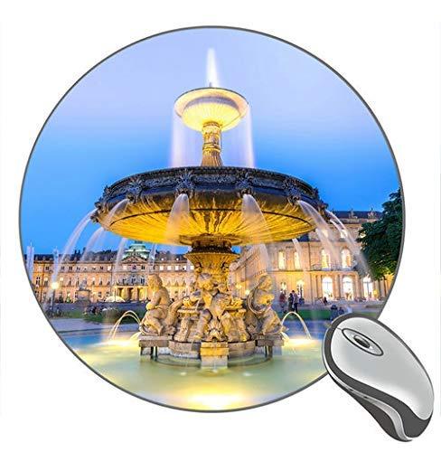 Deutschland Stadt Nacht Brunnen Lichter Wasserdruck Runde Desktop Mauspad Gaming Gummi Mauspad