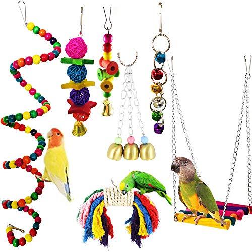 Vegena Vogelspielzeug 7 Stück,Bunten Vogelspielzeug Wellensittich Spielzeug Schaukel Kauspielzeug Vögel Spielzeug für Sittiche Nymphensittiche,Sittichen,Aras,Papageien,Love Birds