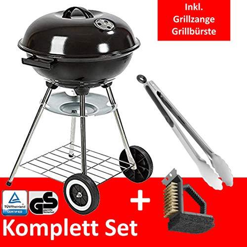 Grill-Holzkohle Kugelgrill Rundgrill groß mit Deckel Ø 41cm fahrbar dreibein mit Aschebehälter inkl. Grillbürste Grillzange