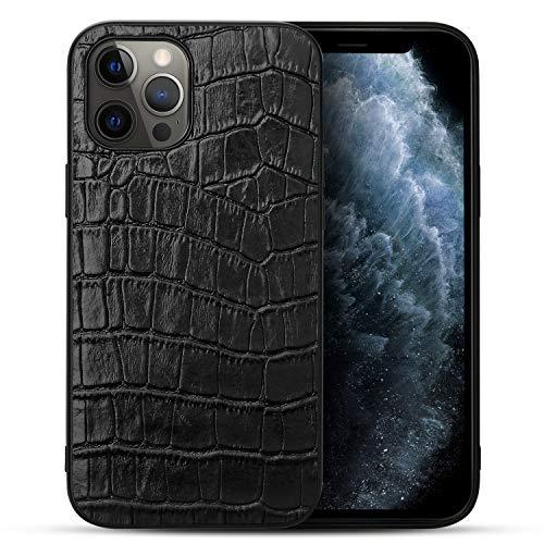 nincyee Cuero Genuina Funda para iPhone 12 y iPhone 12 Pro, Business Cocodrilo Patrón Parachoques Case para iPhone 12/iPhone 12 Pro