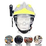 OWSOO Casco de Obra con Gafas Protectoras y Linterna, Casco de Protección, Casco...