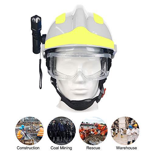 OWSOO Casco de Obra con Gafas Protectoras y Linterna, Casco de Protección, Casco Anti-Impacto y Resistente al Calor