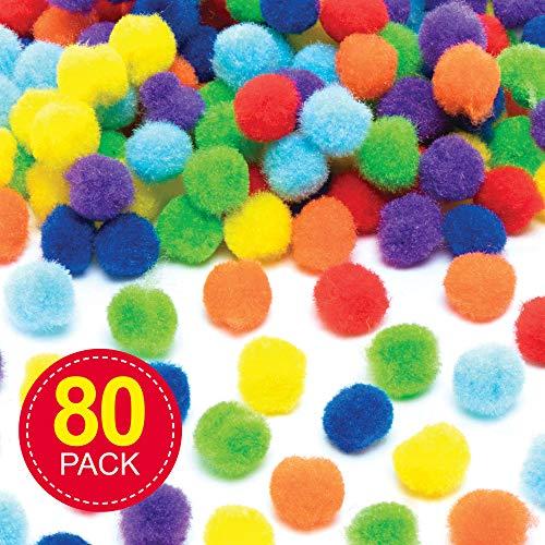 Baker Ross Regenboog Pompoms (80 stuks) Knutselspullen voor Kinderen
