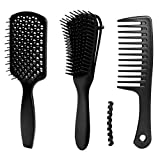 3pcs Detangle Hair Brush Detangling Comb Set for Afro Hair 3a to 4c Kinky Wavy, Curly, Coily Hair,...