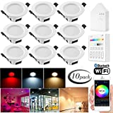 Bluetooth Smart 5W LED Einbaustrahler RGBW+CCT 5 in 1 Einbauleuchte LED Spots 230 Volt Dimmbar Einbauleuchten Stahl Deckenspot für Deckenspots Wohnzimmer (10er mit Touchscreen Smart Schalter, 5W)