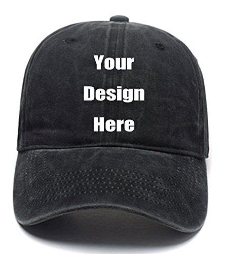 RR&DDXU Customize Your Own Design Text, Photos, Image Logo Adjustable Hat Hiphop Hat Baseball Cap (Deep Black, One Size)