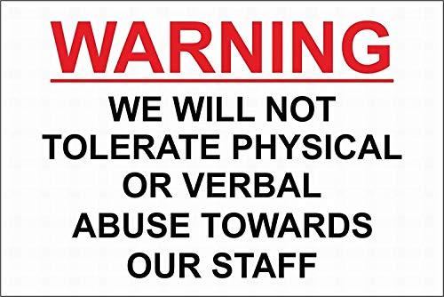EstherMi19 No tolerará el abuso hacia nuestro personal, advertencia de tienda, señales de advertencia de metal, señal de propiedad privada, señal de aviso de seguridad, cartel de decoración del hogar