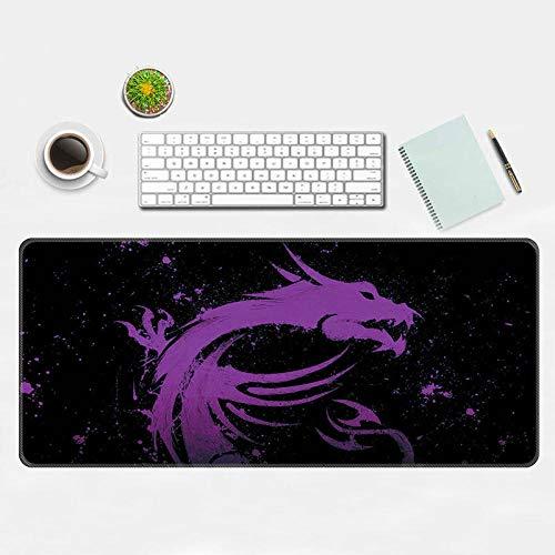 Alfombrilla de ratón Grande Alfombrilla de ratón Colorido dragón Juego Oficina Ordenador pad-400 × 900 × 3MM_Purple Flying Dragon