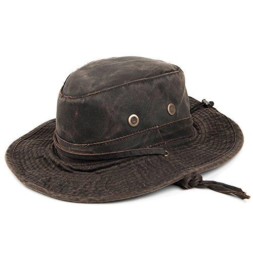Village Hats Chapeau Bob Boonie en Coton à Effet Usé Marron Dorfman Pacific - Large