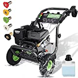 TEANDE Gas Pressure Washer, 4200PSI, 3.0GPM, 209cc 7.0 HP Power Washer with Soap Tank & 5 Qiuck Connect Nozzles, Easy to Remove Dirt, Essential for Vehicles, Patios, Ground, Driveways (Green)