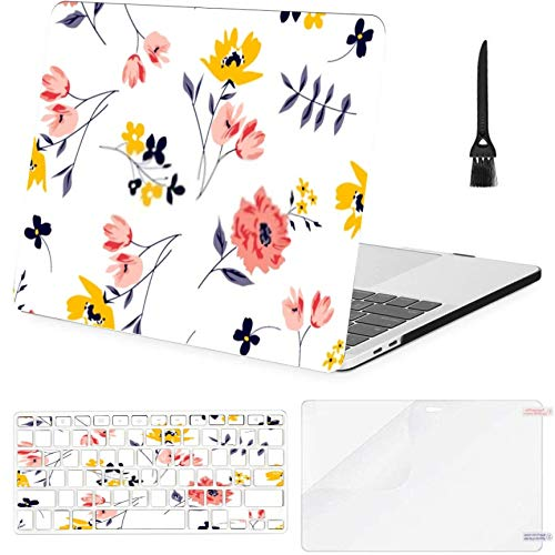 Macbook Pro13'(2016-2019) With Touch BarA1706,A1989,A1989 Case,Plastic Floral Spring Pattern Ditsy Flowers Vector Hard Shell Case With Keyboard Cover & Screen Protector & Cleaning Brush