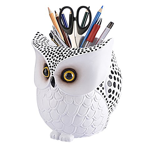 LYASI Owl Pen Holder, Owl Pen Pencil Container Carving Brush Pot Brush Holder Desk Organizer Decoration,Luxury Gift and Exquisite Handicraft (White:Owl)