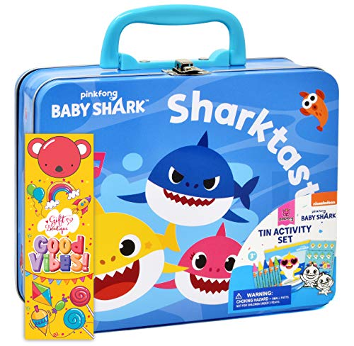Baby Shark Coloring and Activity Tin Box, Includes Crayons, Stickers, Mess Free Crafts Color Kit in Tin Box, for Toddlers, Boys and Kids, Gift Boutique Bookmark Included