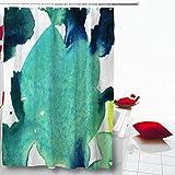 AdaCrazy Splash Acquerello Astratto Ciano Blu Verde Chiaro Verde Pennello Acqua Colpo Splash Splash su Effetto Verde Microfibra Bagno Tenda della Doccia Tenda del Bagno Moderna 71x71 Pollici