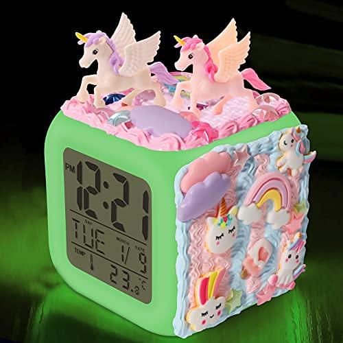 QearFun Unicorn Alarm Clocks for Girls, DIY Arts and Crafts Kit Digital Alarm Clock for Kids with 7 Colors Night Light, Kids Art Set Unicorn Bedroom Decor for Girls