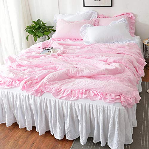 XNSY Reversible Duvet Summer quilt siesta quilt air conditioning quilt-180X200cm_Pink