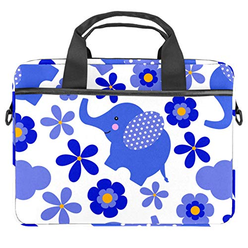 Laptop Bag Blue Elaphant and Flowers Notebook Sleeve with Handle 13.4-14.5 inches Carrying Shoulder Bag Briefcase