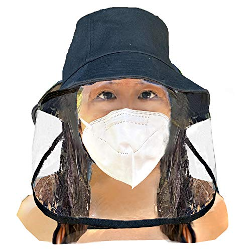 ADULTS FACE SHIELD HAT | Safety | Protection | Anti Fog | Detachable | Reusable | Washable | Breathable | Unisex | Black Color | Women Men