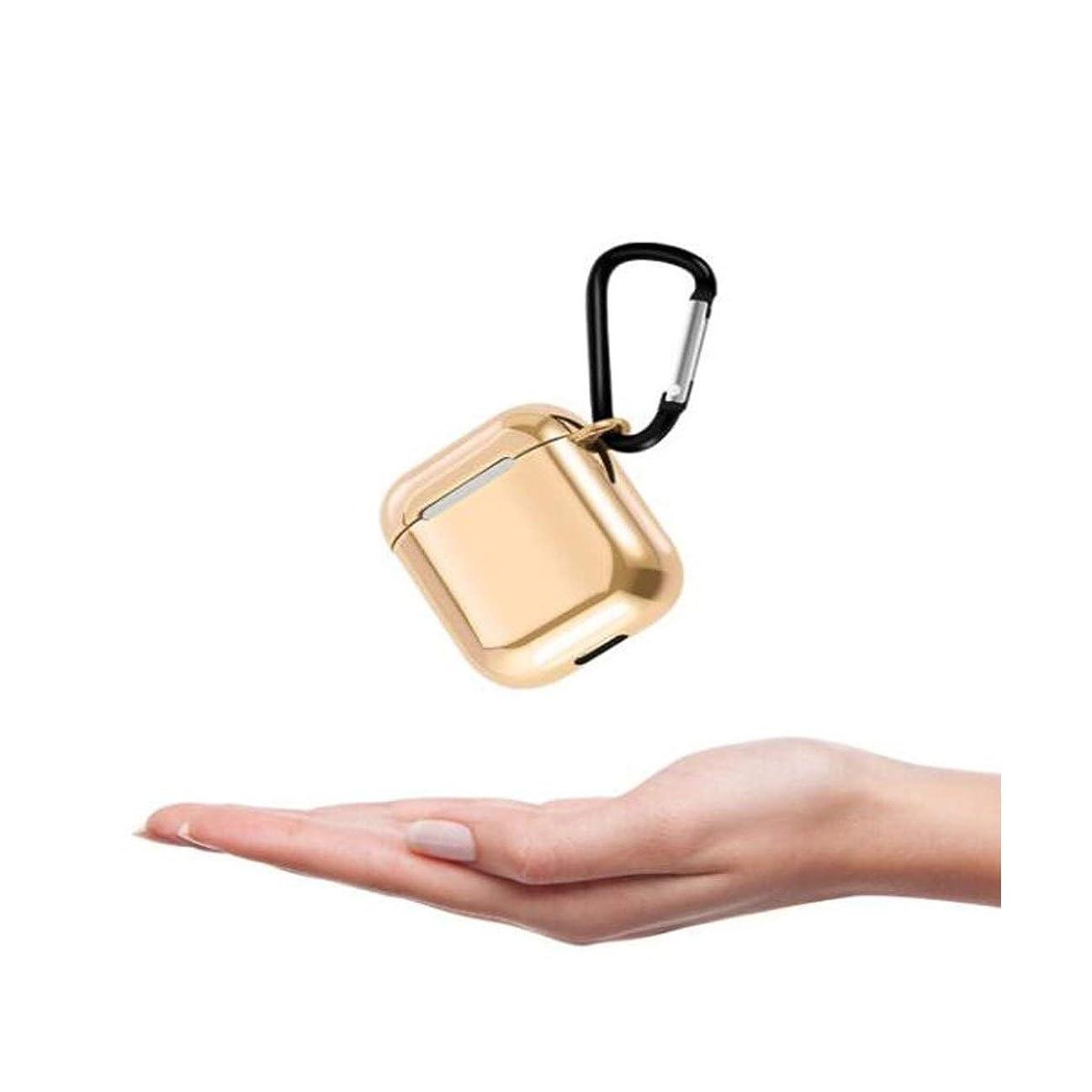 監督する学期仕えるGaoxingbianlidian001 ヘッドフォンセット、カラフルなメッキAirpodsカバー2/1世代ワイヤレスBluetoothヘッドセットセットシリコンドロップ保護シェル送信フック、ブラック/ゴールド 簡潔 (Color : Gold)