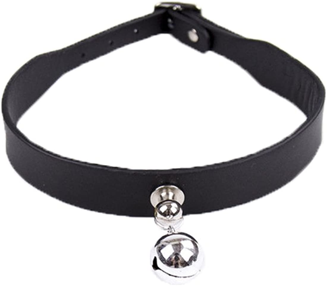Display Promotion Leather Choker Collar Necklace with Ring Bell