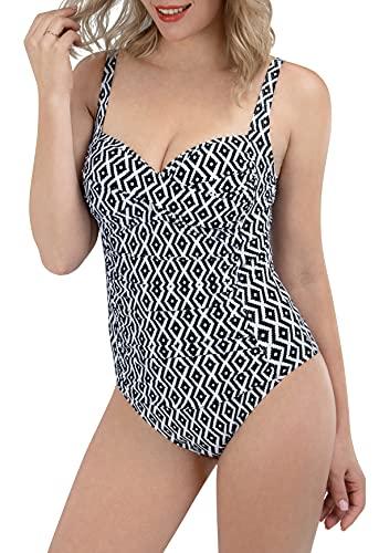 LIFE SKY Damen Einteiler Badeanzüge Schlankheits Badeanzüge Strand Bademode - - X-Large