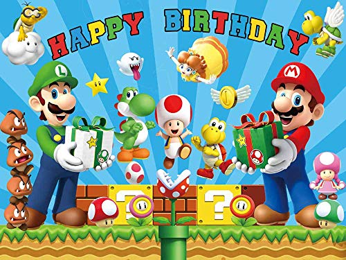 Super Mario Backdrop Uncle Bros Happy Birthday Party Supplies Baby Shower Banner for Boy Background Photography
